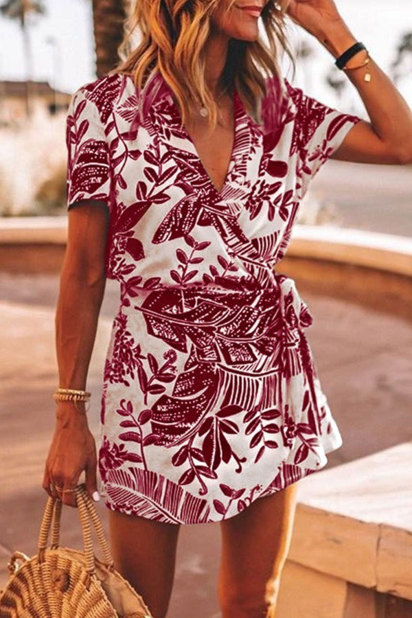 V Neck Printed Lace-up Red One-piece Romper