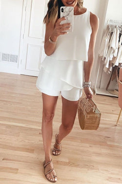 O Neck Ruffle White Romper(4 Colors)