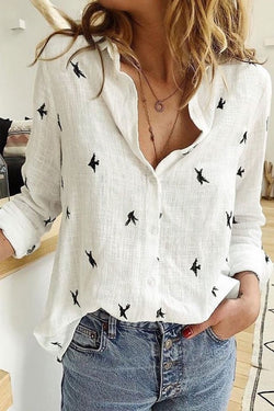 Printed White Shirt