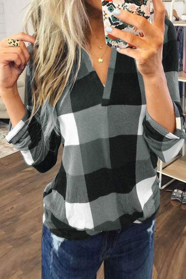 V Neck Grid Printed Grey Blouse(2 Colors)
