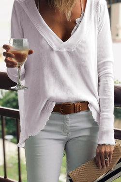 V Neck Loose White T-shirt