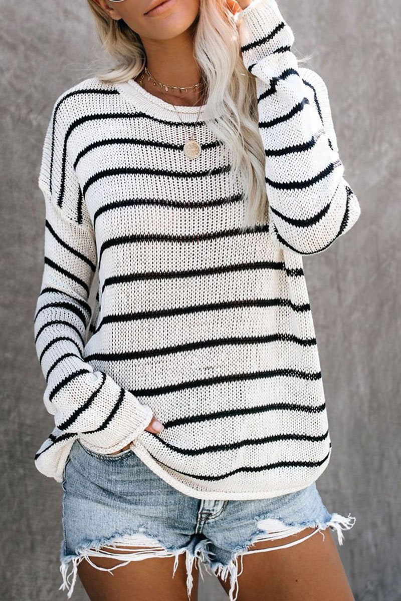 Striped Loose White Sweater