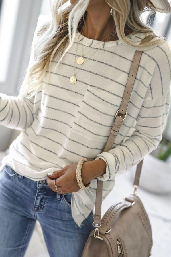 Long Sleeve Casual Striped White T-shirt