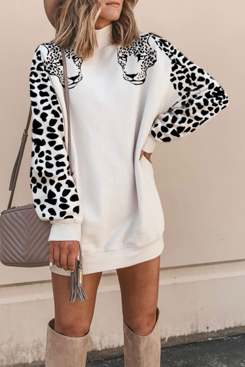 Hottychic Turtleneck Leopard Mini Dress (5 Colors) - Hottychic
