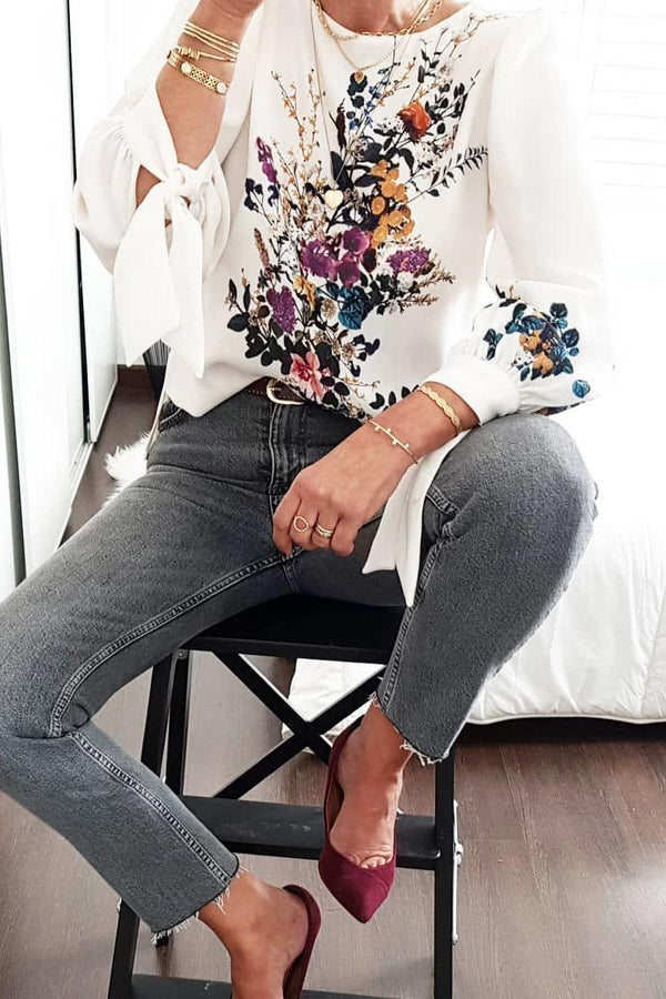 Floral Design White Blouse