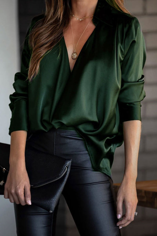 V Neck Solid Color Cross-Over Design Blouse
