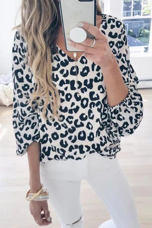V Neck Long Sleeve Printed Leopard Blouse