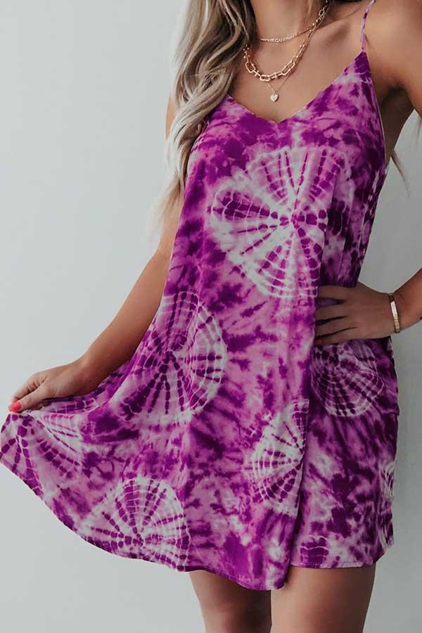 Tie Dye Spaghetti Strap Casual Wear Dress