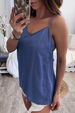 Sleeveless Blue Spaghetti Strap Backless Camisole