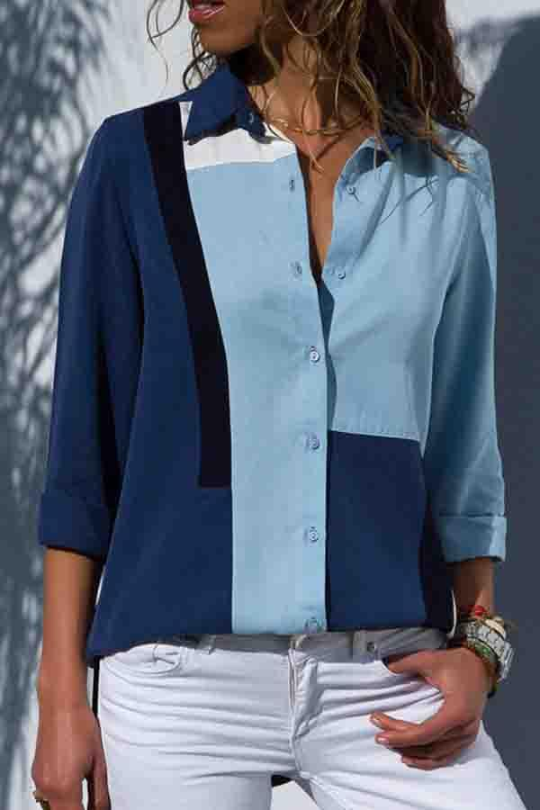 Long Sleeve Color Block Turtle Neck Casual Wear Blouse