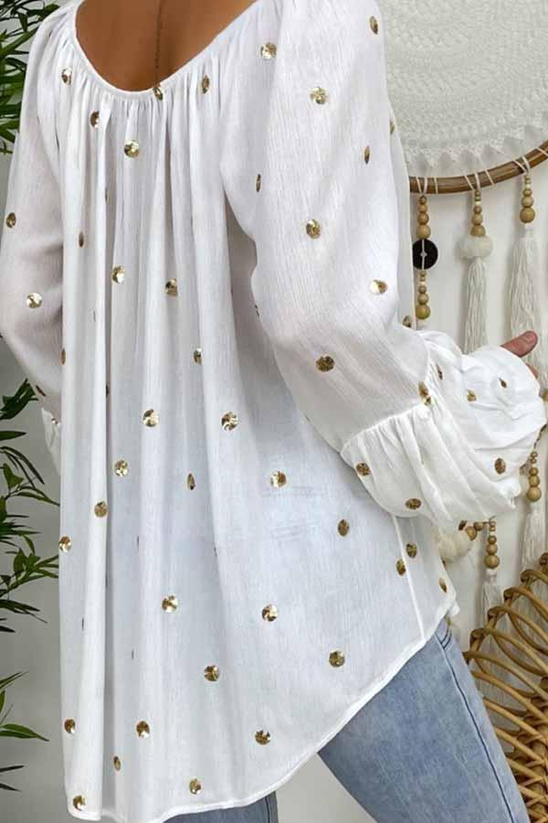 Puff Sleeve Polka Dot V Neck Blouse
