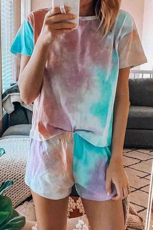 Short Sleeve Star Tie Dye Round Neck Set