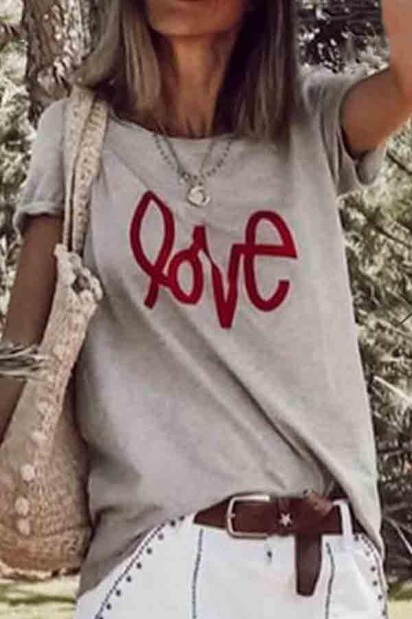 Short Sleeve Letter print Round Collar T-Shirt
