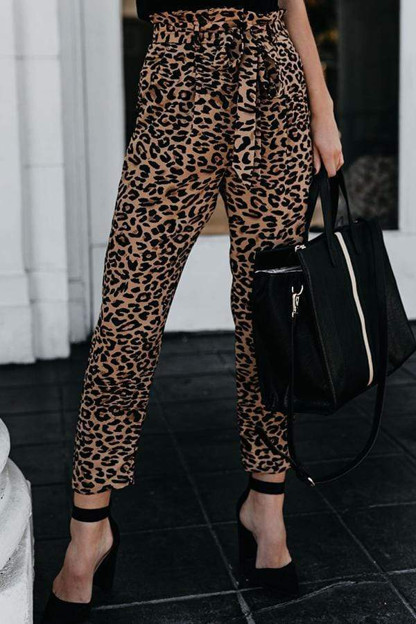 Regular Waist Leopard Print Straight Cut Casual Wear Pants