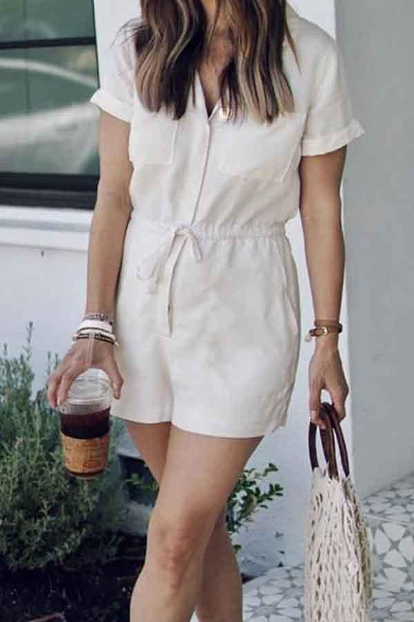 Short Sleeve Solid Color Turtle Neck Casual Wear Romper