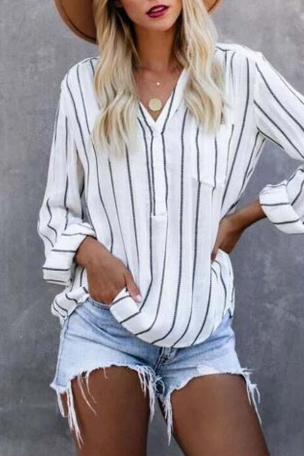 Long Sleeve Striped V Neck Leisurewear Blouse
