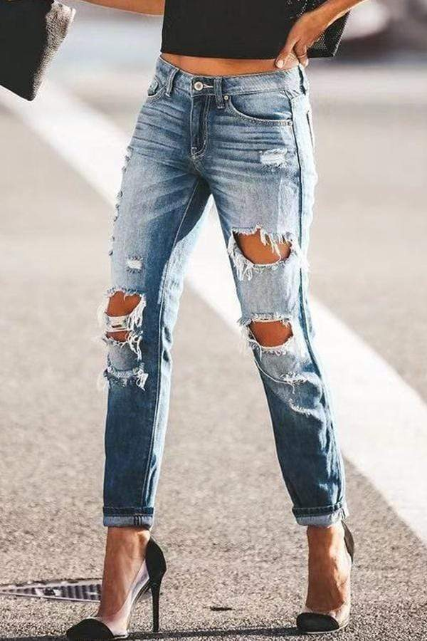 Regular Waist Solid Color Skinny Fit Hole Jeans