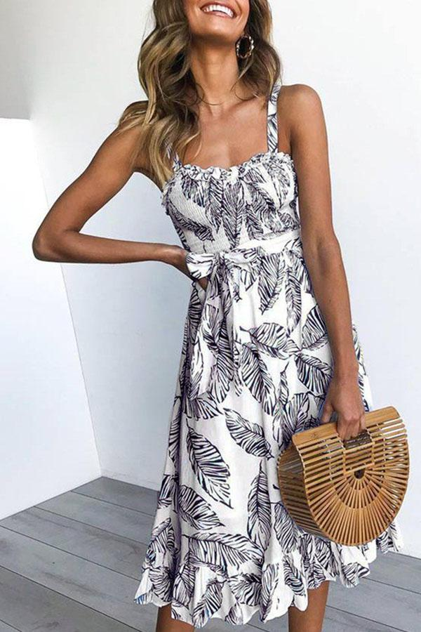 Sleeveless Leaf Print Spaghetti Strap Casual Wear Dress
