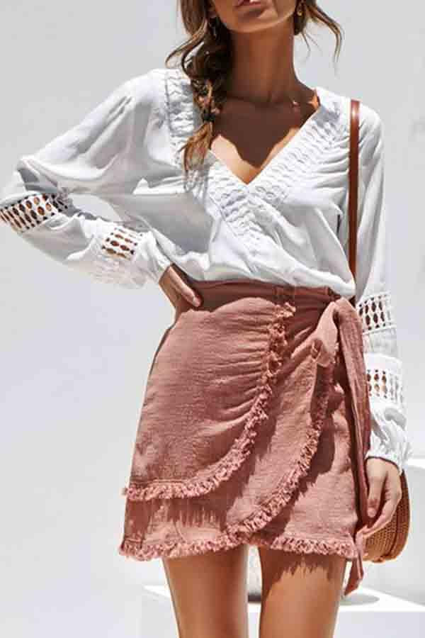 Puff Sleeve Patchwork V Neck Casual Wear Blouse