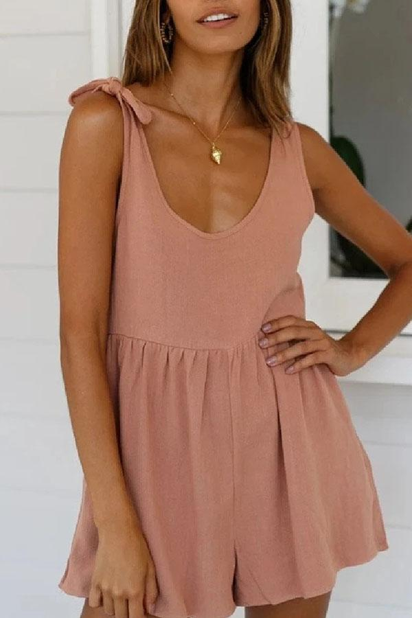 Solid Color Spaghetti Strap Casual Wear Romper