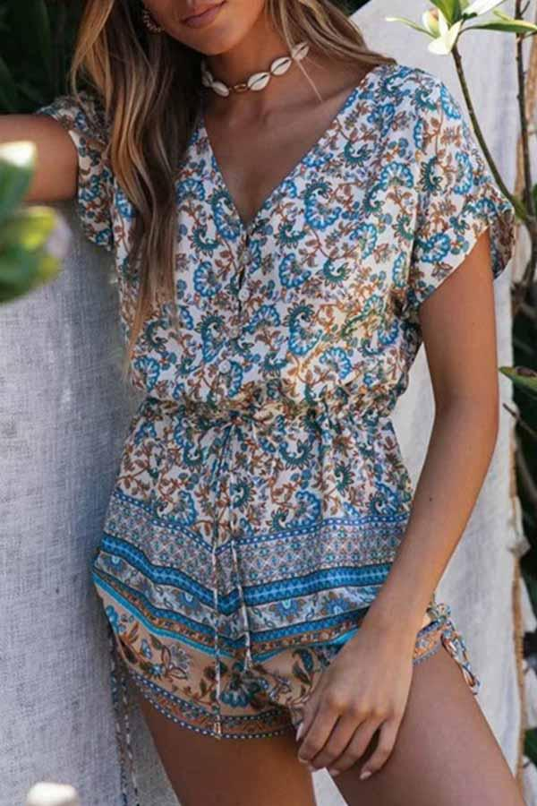 Floral Print V Neck Casual Wear Romper