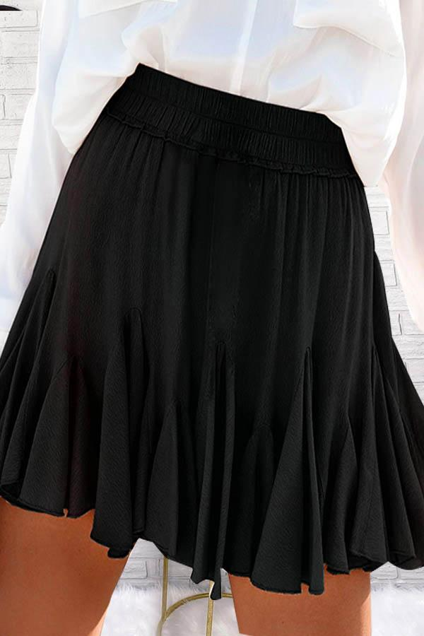 Solid Color Flared Pleated Skirt