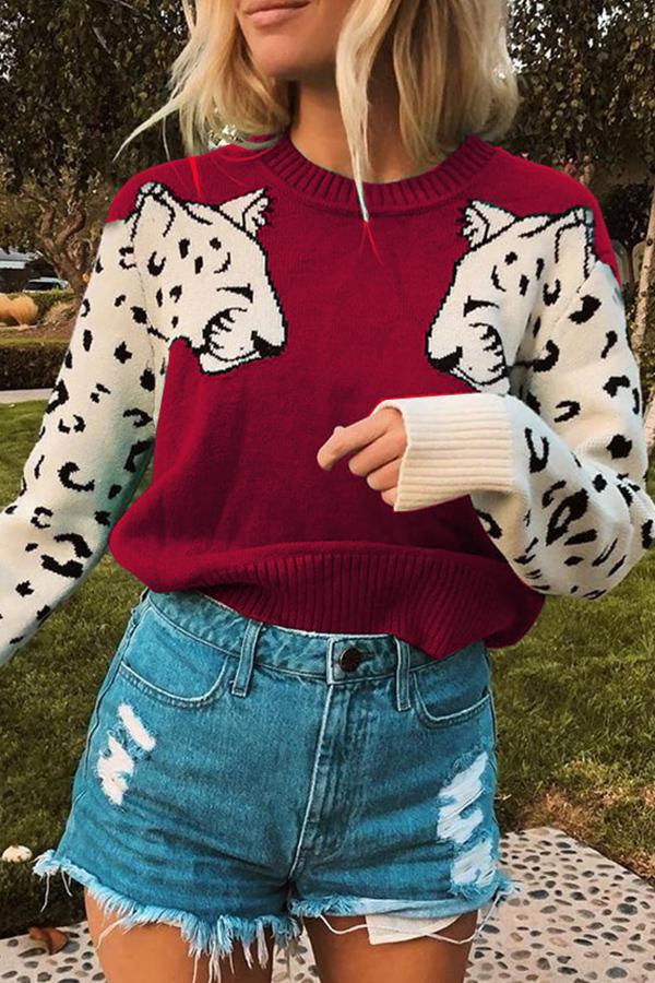 Long Sleeve Animal Print Round Collar Casual Wear Sweater
