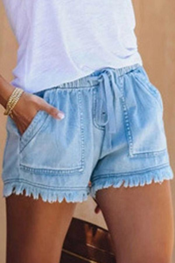 Solid Color Tassels Baggy Casual Wear Shorts