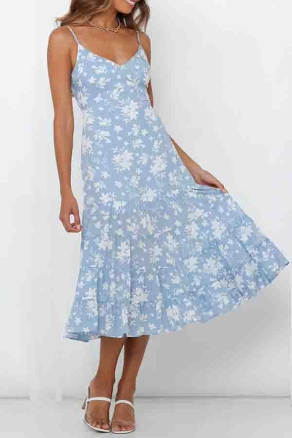 Floral Print Spaghetti Strap Pleated Dress