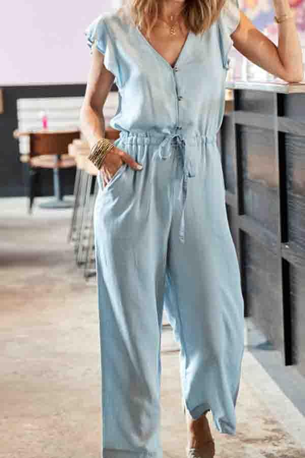 Flounce Sleeve Solid Color V Neck Casual Wear Jumpsuit