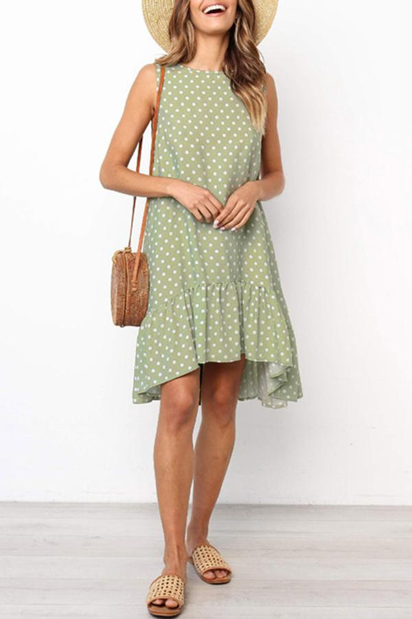 Sleeveless Polka Dot Round Collar Casual Dress