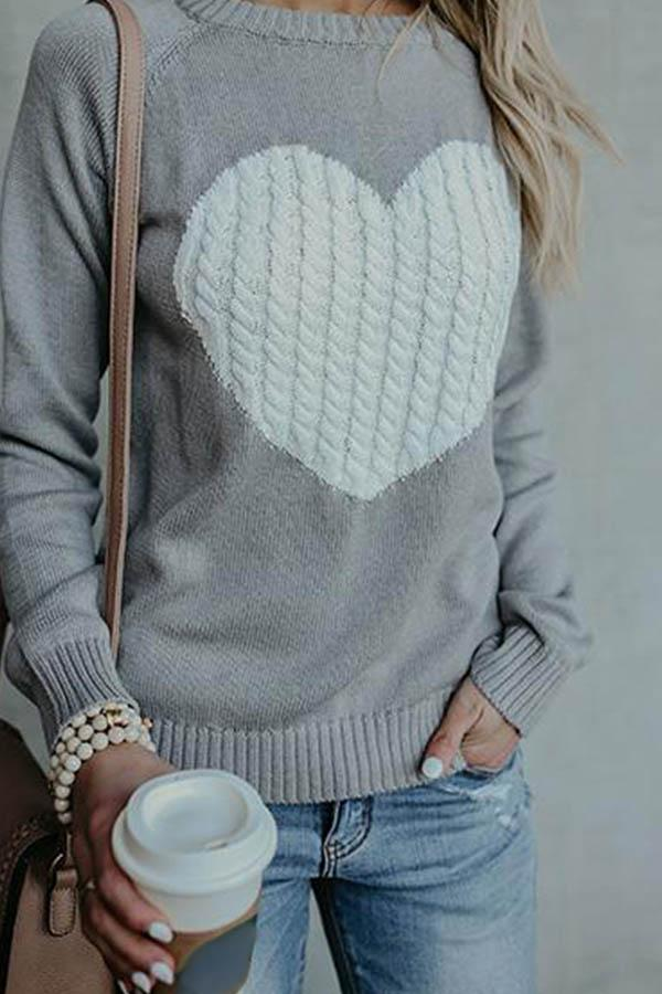 Fashion Causal Stitching Heart-Shaped Sweater