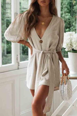 Puff Sleeve Solid Color V Neck Casual Wear Romper