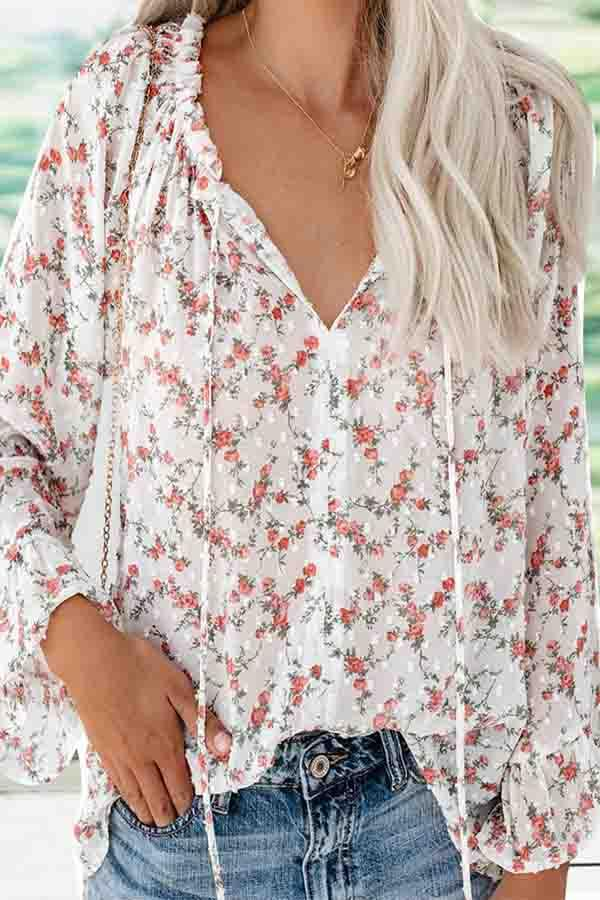 Trumpet Sleeve Floral Print V Neck Leisurewear Blouse