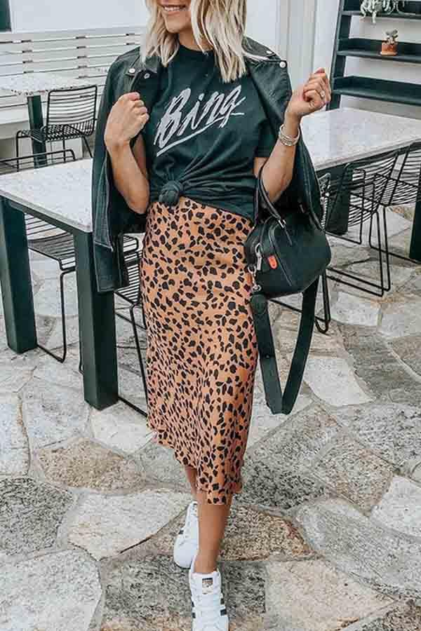 Regular Waist Leopard Print Regular Fit Casual Wear Skirt