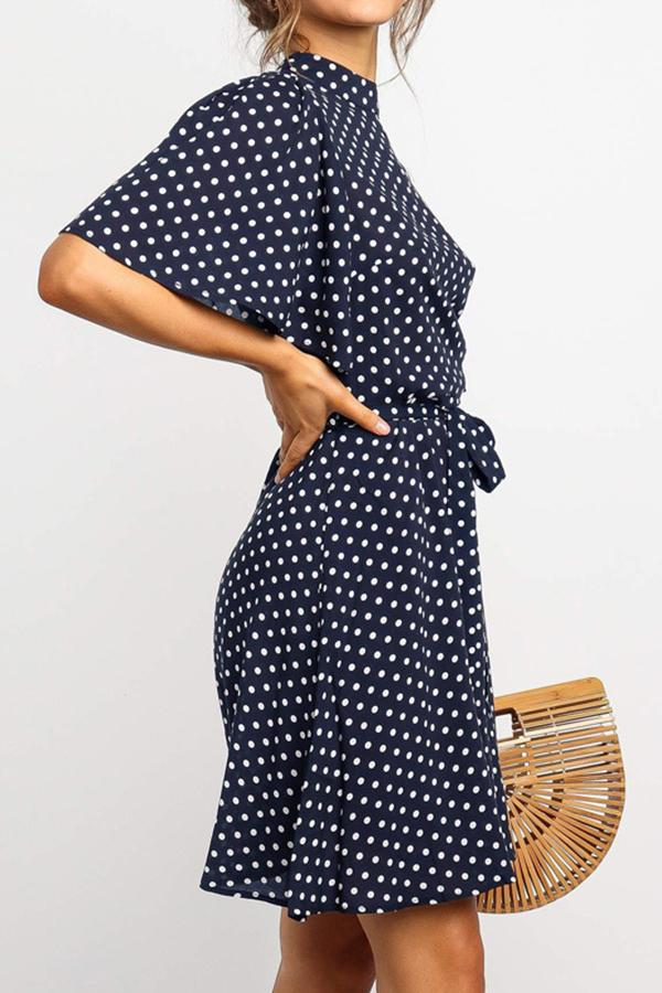 Flounce Sleeve Polka Dot High Neck Casual Wear Dress