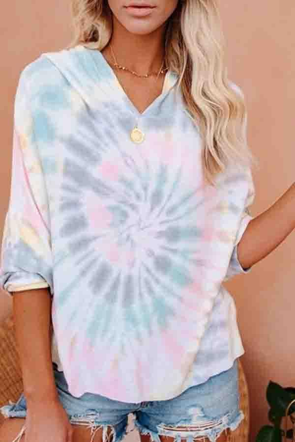 Long Sleeve Tie Dye Hooded collar Leisurewear T-Shirt