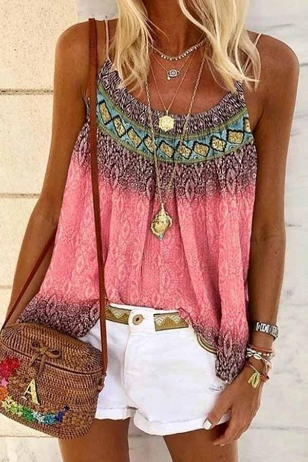 Sleeveless Geometric Print Spaghetti Strap Casual Wear Vest