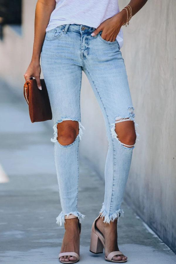 Solid Color Skinny Fit Hole Jeans