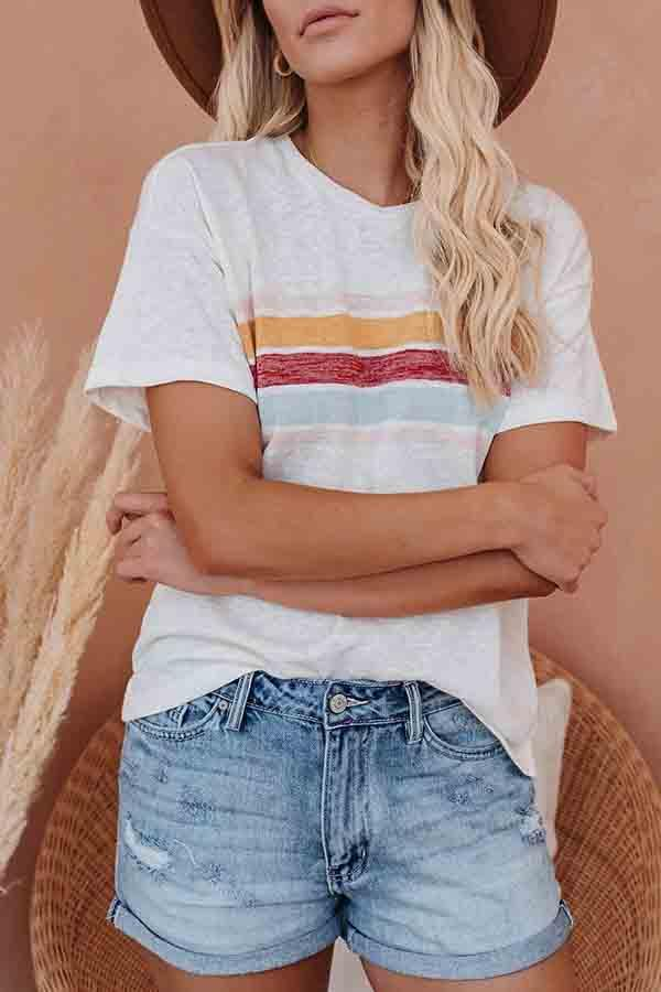 Short Sleeve Striped Round Collar Casual Wear T-Shirt