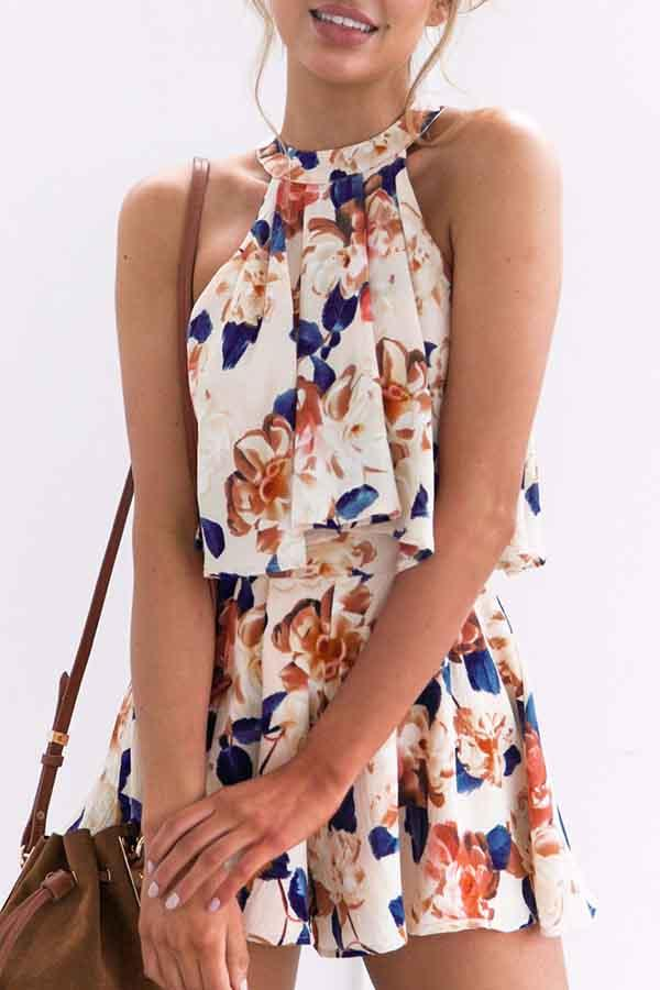Sleeveless Floral Print Halter Neck Casual Wear Set