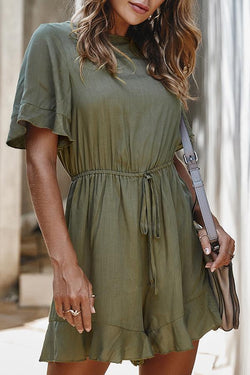 Ruched Sleeve Solid Color Round Collar Swing Romper