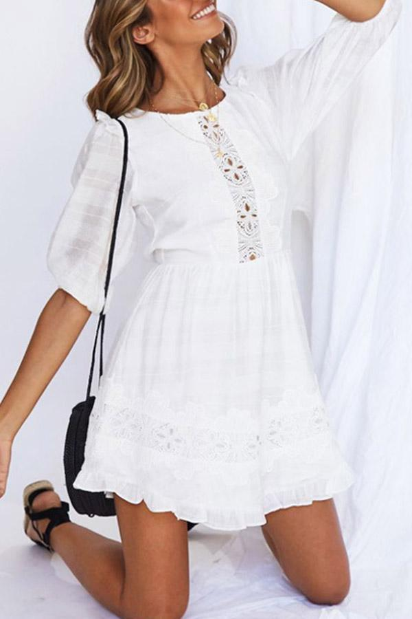 Solid Color Round Neck Lace Dress