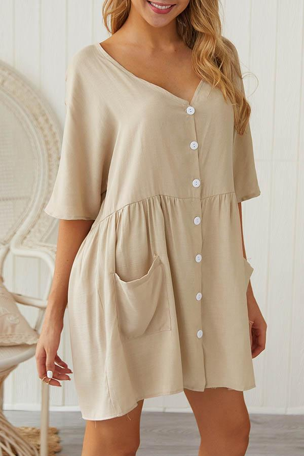 Solid Color V Neck Casual Wear Dress