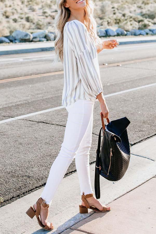 Long Sleeve Striped V Neck Blouse