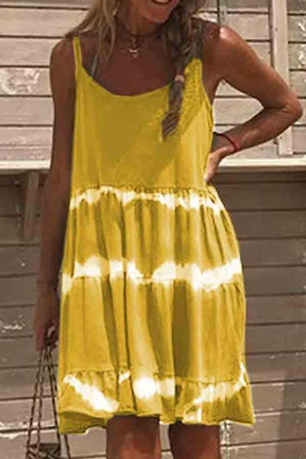 Sleeveless Tie Dye Round Neck Dress
