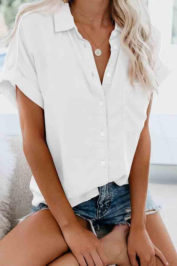 Short Sleeve Solid Color Turtle Neck Single Breasted Blouse