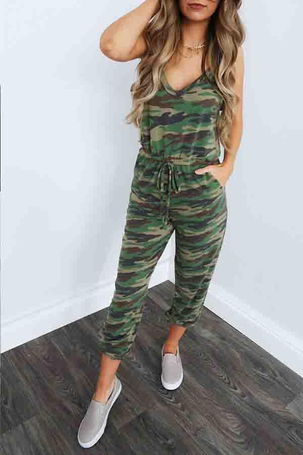 Camouflage Spaghetti Strap Casual Wear Jumpsuit