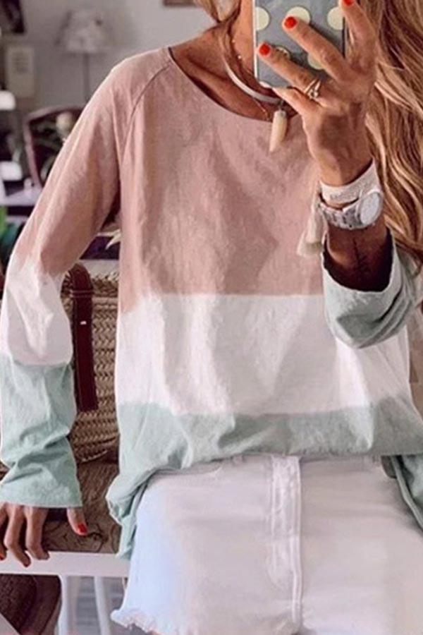 Color Block Round Neck Casual Wear Blouse