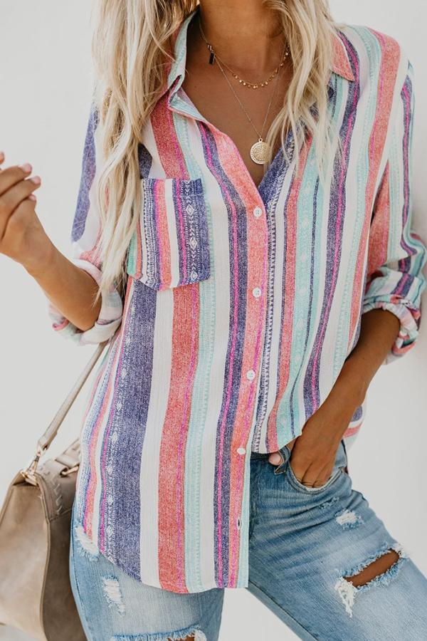 Long Sleeve Striped Turtle Neck Single Breasted Blouse